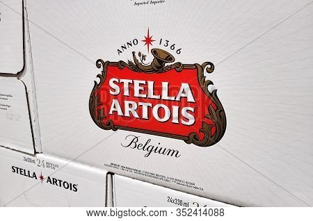 Montreal, Canada - February 10, 2020: Stella Artois Logo On Boxes With Beer In Costco Warehouse. Ste