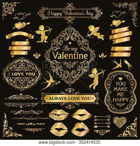 Love And Valentine`s Day Gold Design Elements Set, Decorative Flourish Border Corner And Frame Colle