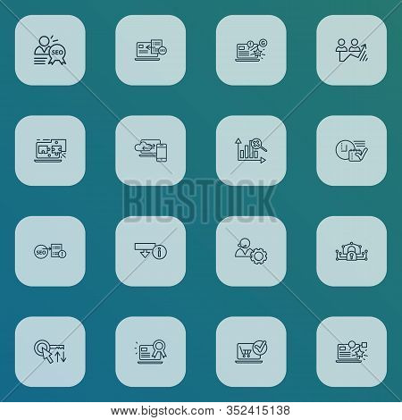 Search Icons Line Style Set With Social Media Campaign, Sort Keywords, Download Information And Othe