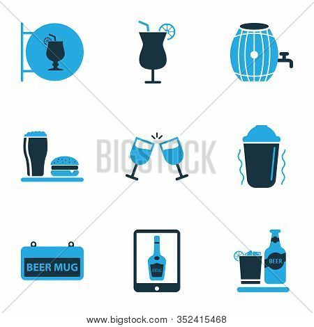 Beverages Icons Colored Set With Beverage, Cocktail, Cocktail Sign And Other Brewery Elements. Isola