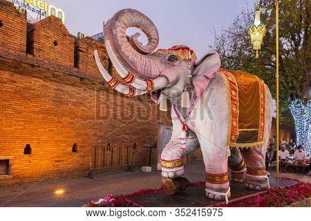 Chiang Mai - Thailand, February 8, 2020 : Tha Phae Gate Chiang Mai Old Town City And Street Ancient