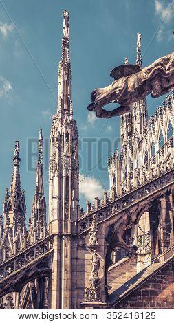 Milan, Italy - May 16, 2017: Milan Cathedral Roof Close-up, Europe. Milan Cathedral Or Duomo Di Mila