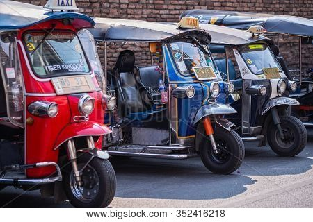 Chiang Mai - Thailand, February 8, 2020 : Tuk Tuk (auto Rickshaw) Is A Common Form Of Urban Transpor