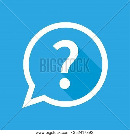 Question Mark Vector Isolated Illustration Icon With Shadow On Blue Background. Help Sign Speech Bub