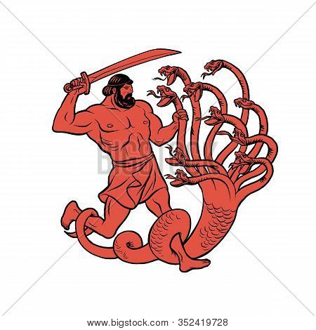 Lernaean Hydra. Hydra Of Lerna. 12 Labours Of Hercules Heracles. Myths Of Ancient Greece Illustratio
