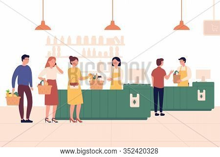 Customers Standing In Line Or Queue To Cashier In Supermarket. Shopping Vector Concept. People Queue