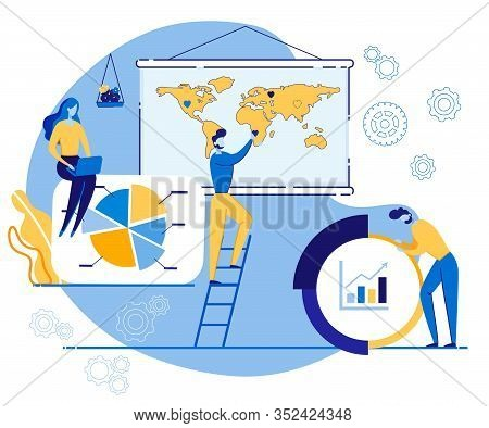 Advertising Banner Equity In Business Cartoon. Sales Are Part Marketing Process. Guy Is Standing Nea