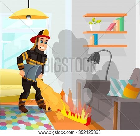 Persistent Firefighter, Fully Equipped In Protective Clothing, Holding Bucket In Hands, Trying To Ba