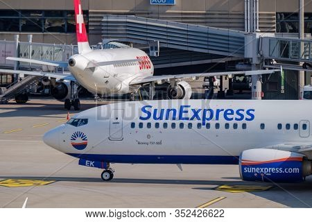Zurich, Switzerland - July 19, 2018: SunExpress Turkish airlines airplane preparing for take-off at day time in international airport