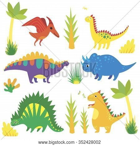 Set With Funny Cartoon Dinosaurs, Triceratops, Diplodocus, Tyrannosaurus, Stegosaurus, Pterosaur, Co