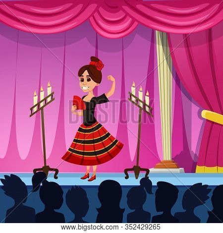 Dancer, Performing Traditional Spanish Dance. Tiny Brunette, Wearing Black And Red National Dress. G