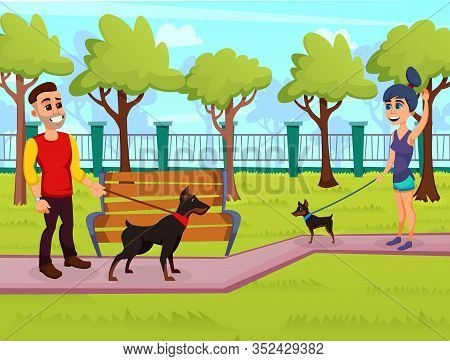 Young Girl, Walking Over Her Zwergpinscher In Local Park, Saying Hallo To Her Friend Dog Owner, Guy