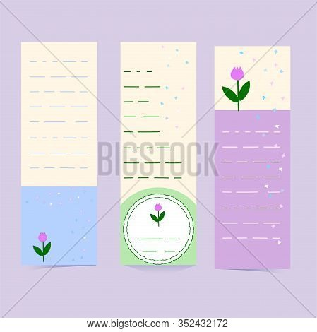 Vertical Flyers Or Banners In Delicate Colors With Butterflies And Tulips. Set Of Bookmarks With Pla
