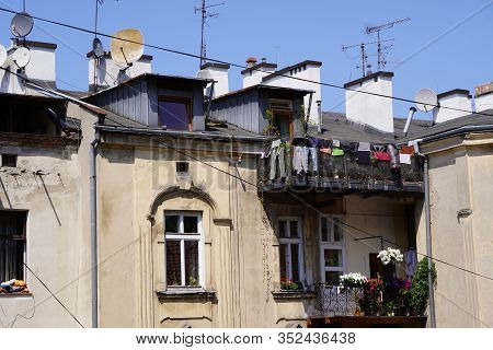 Drying Things On The Balcony Or Railing Is An Old Way To Dry Things. The Unfolding Of Things In The