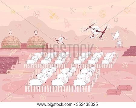 Prompt Banner Sheep Farm On Colonized Planet. Autonomy Colony Allows Many Times To Increase Growth R