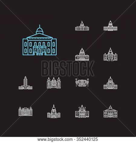 Building Icons Set. Alabama State Capitol And Building Icons With Landmark, New York State Capitol,