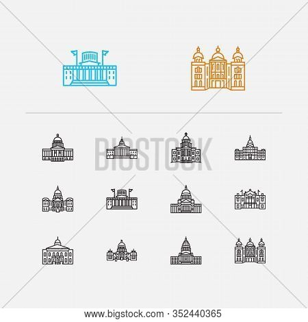 America Icons Set. Arkansas State Capitol And America Icons With Michigan State Capitol, Government