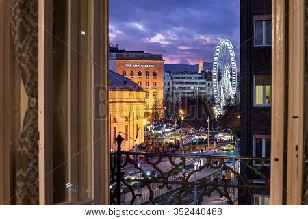 Budapest, Hungary - December 14, 2019: Madach Square Window View To The Street Towards Deák Tér Afte