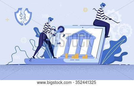 Digital Crimes, Law Breaking Trendy Flat Vector Concept. Criminals In Masks, Robbers With Tools, Hac