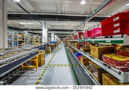 Beijing, China - June 03, 2019: Modern Automation Of Warehouse Production In China.