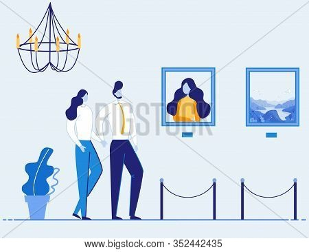 Couple Visit Art Museum Gallery. Man And Woman Cartoon Characters In Exhibition Hall Interior. Peopl
