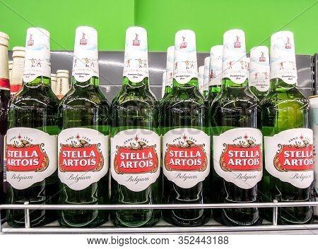 Samara, Russia - February 23, 2020: Stella Artois Alcoholic Beer Ready For Sale On The Shelf In Supe
