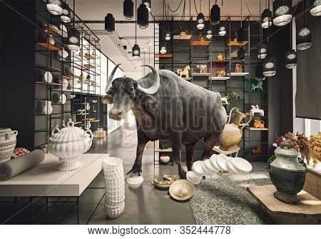 bull in a China shop. Photo and media mixed creative concept