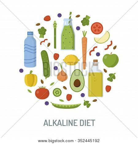 Round Logo With Alkaline Products. Alkaline Diet Concept. Template For Your Design. Flat Design. Vec
