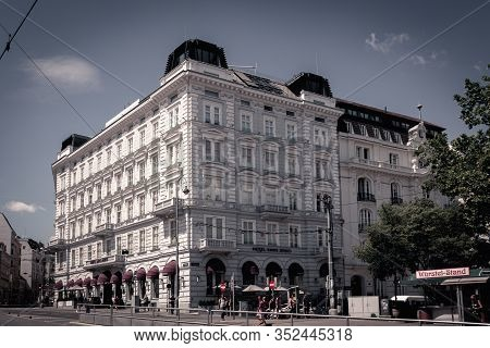 Vienna, Austria - July 25, 2018: Sans Souci Hotel Is A Grand Five Star Luxure Hotel Placed Inside Th