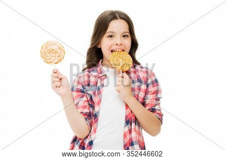 Lollipop A Day Helps You Rest And Play. Happy Girl Enjoy Lollipop Isolated On White. Small Child Lic