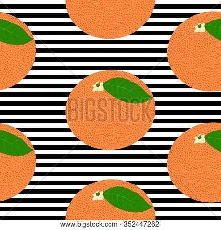 Seamless Background With Black Stripes And Red Grapefruit With Leaf. Vector Illustration Design For