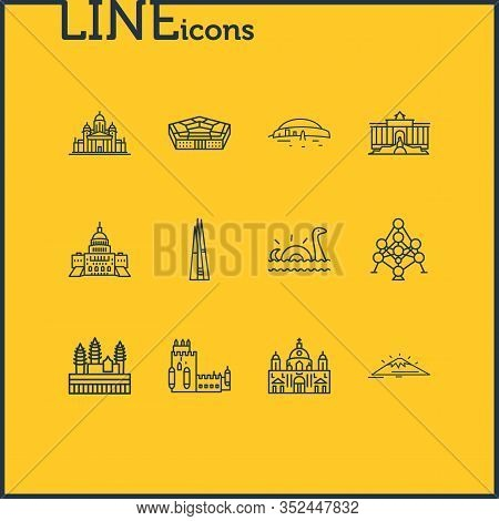 Illustration Of 12 World Landmarks Icons Line Style. Editable Set Of Loch Ness, Newgrange, Pentagon