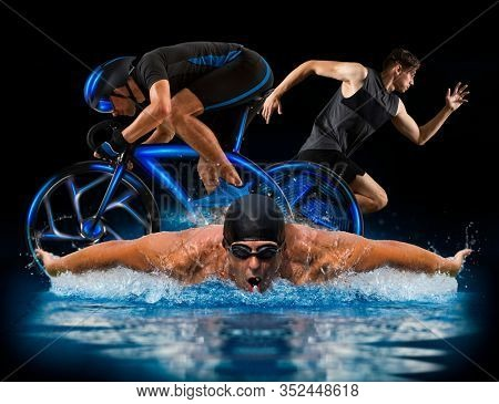 Triathlon sport collage. Man running, swimming, biking for competition race black background