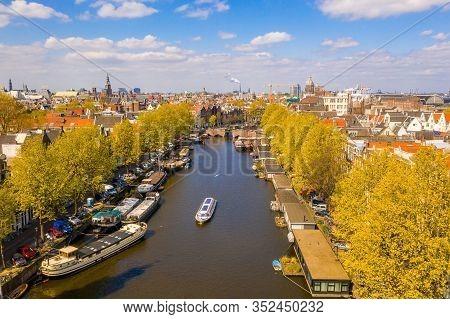 Amsterdam, Netherlands. May 10, 2019. Skyline In Historical Area, Amsterdam, Netherlands. Ariel View