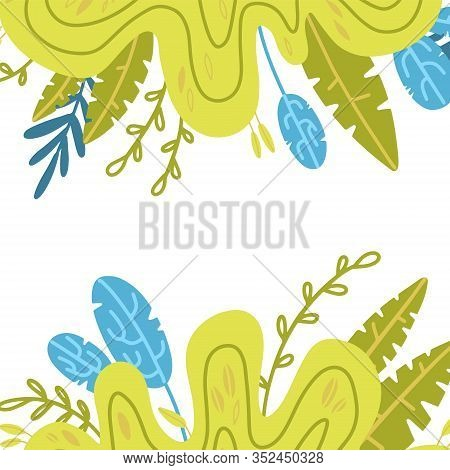 Leaves Drawing Frame, Square Boho Border In Scandinavian Style With Plants Leaves With Place For Tex