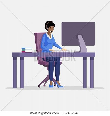 Young Woman Sitting At The Table In Front Of Computer With An Earpiece And Microphone On Head Vector