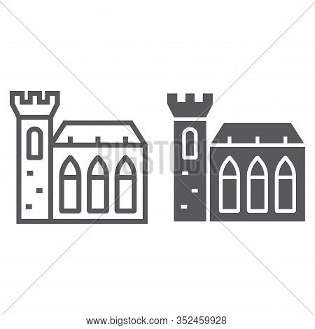 Dublin Castle Line And Glyph Icon, St Patrick S Day And Holiday, Ireland Castle Sign, Vector Graphic