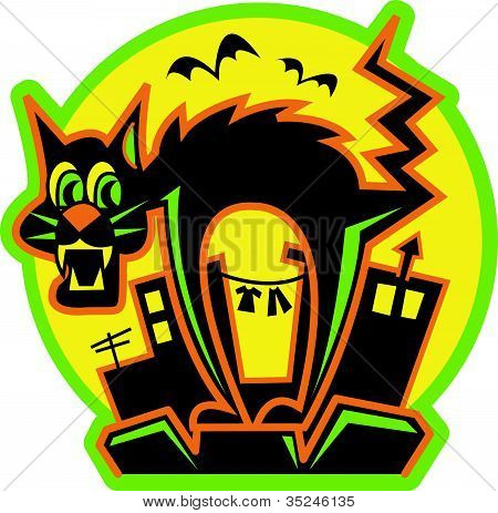 Halloween Black Cat Clip Art