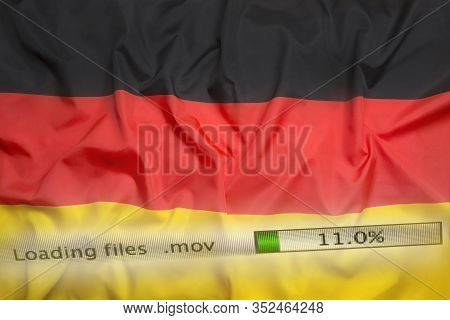 Downloading Files On A Computer With Germany Flag