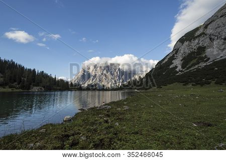 Lake Seebensee With View Of Mountain Zugspitze, Austria