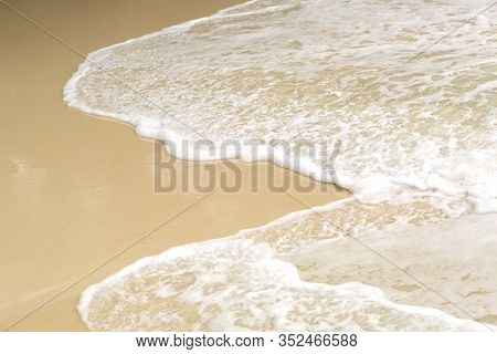 Tropical Beach Background With Soft Wave And White Sand