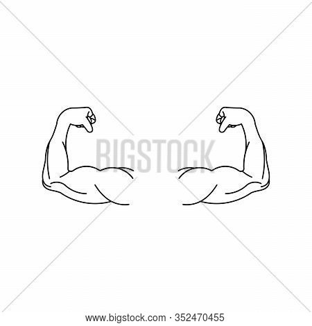 Strong Muscular Arms Vector Icon,hand Logo