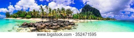 Perfect tropical getaway - stunning Mauritius island. Panorama of Le Morne beach and mountain