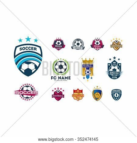 Simple Soccer Football Badge Logo Designs, Soccer Emblem Logo Template Vector Illustration