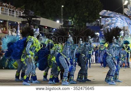 Rio, Brazil - February 23, 2020: Parade Of The Samba School Portela, At The Marques De Sapucai Sambo