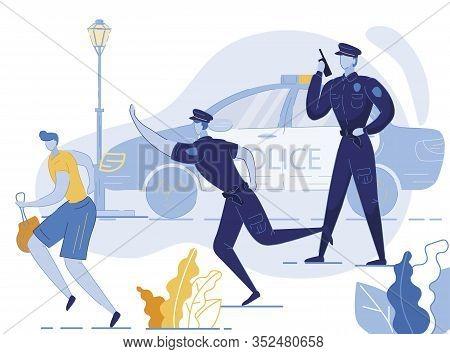 Policemen Chasing Robber Flat Vector Illustration. Thief Escaping With Stolen Purse, Handbag Cartoon