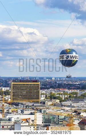 Berlin, Germany - September 22, 2017: Welt Balloon - One Of The Worlds Biggest Helium Balloons In Th