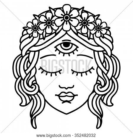 tattoo in black line style of female face with third eye and crown of flowers