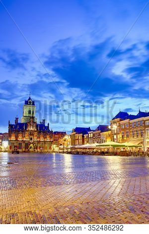 Stadhuis (known As City Hall) At Local Markt Square (market Place)  In Dutch Old City Delft During B
