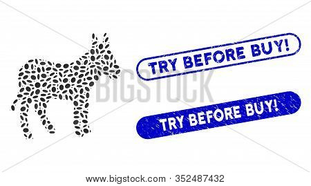 Mosaic Donkey And Grunge Stamp Seals With Try Before Buy Exclamation Text. Mosaic Vector Donkey Is C